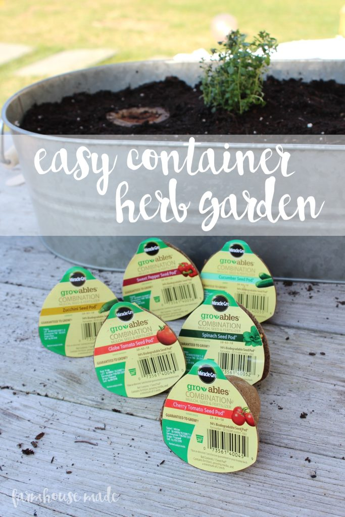 Grab your kids and make this easy container herb garden with Gro-ables!! #GroablesProject #ad