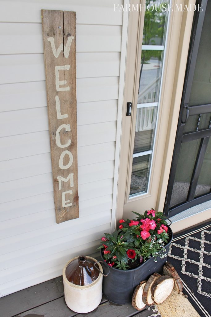 Farmhouse Welcome Sign and Planter TopView