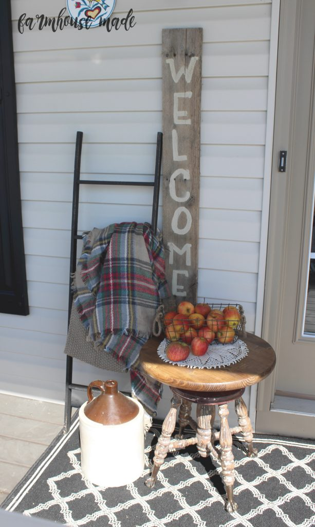 I stripped down this piano stool and repurposed this beauty on my porch for some fall decor - come check out the before, and more after photos of this glorious chippy paint and claw feet!