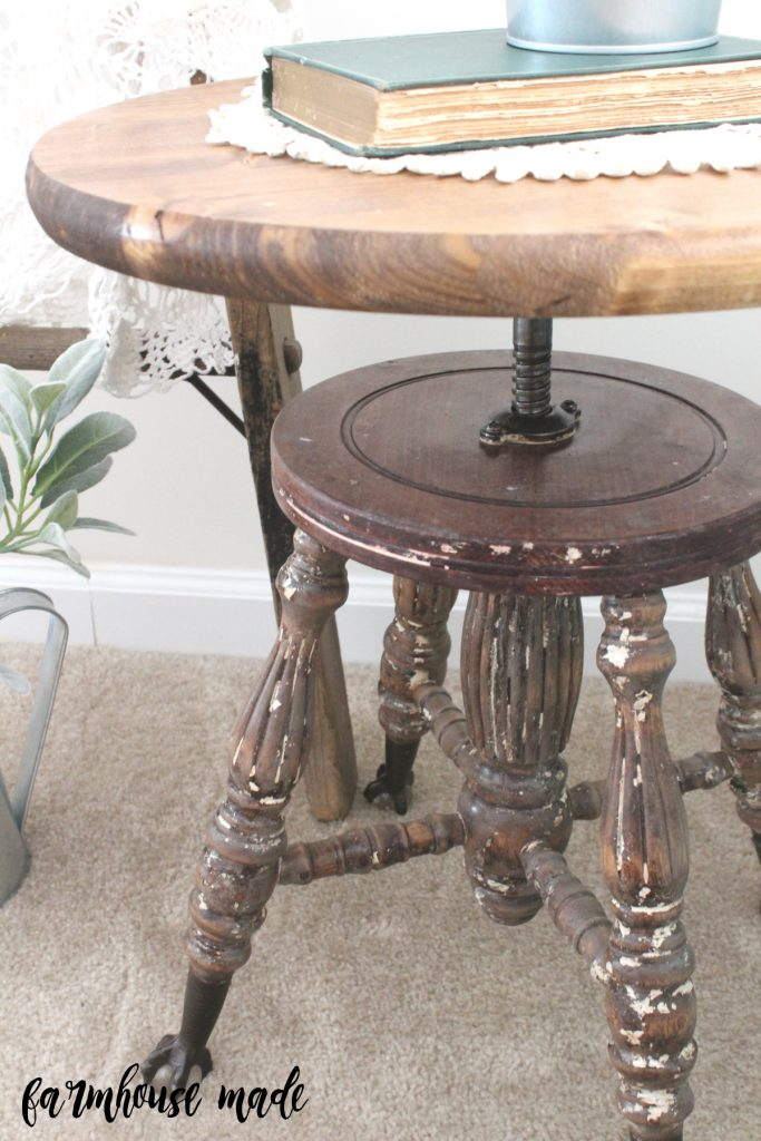 This piano stool has come a long way to make it as a nightstand!
