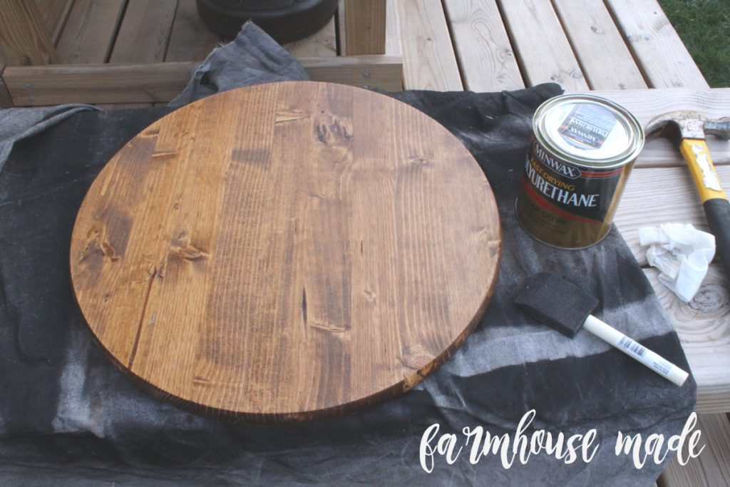 This is the top to an antique piano stool makeover.