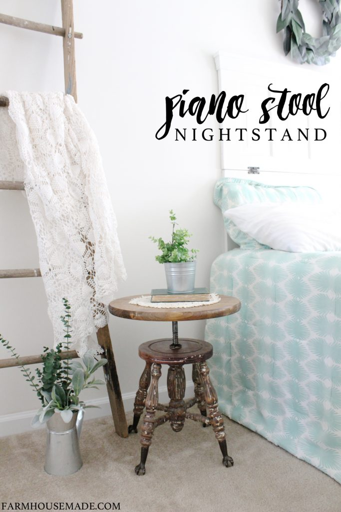 This heirloom piano stool was so rough looking before. Now it's a beautiful nightstand!!