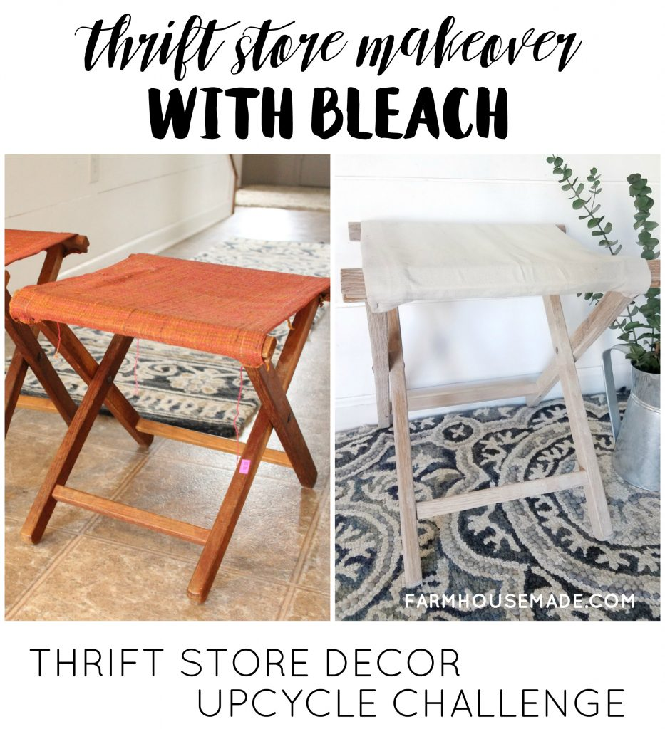 This white wood is now so gorgeous, the before is horrible! It's a thrift store makeover & Thrift store upcycle challenge with bleach!! #RepurposeIt