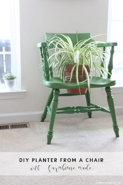 A DIY Planter from a salvage chair is an amazing way to add color to your porch, deck or garden this spring! DIY   Spring Decor   Garden DIY   Outdoor
