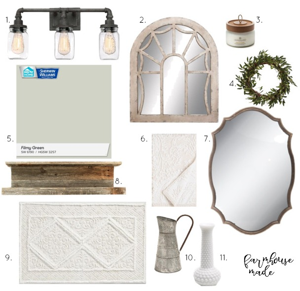 Gorgeous inspiration for a $100 Farmhouse Powder Room makeover! I can't wait to see the reveal!!