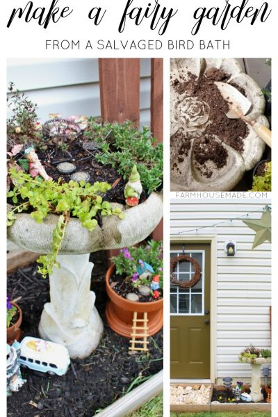 A DIY Fairy Garden made from a salvaged bird bath - this is crazy adorable and whimsical. It adds so much charm and character to the garden! My kids would love this, making it for sure!