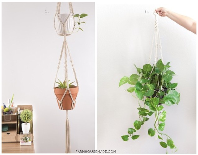 These are a few of my favorite Macrame Plant Hangers. I love the farmhouse rustic boho vibe of these cuties!