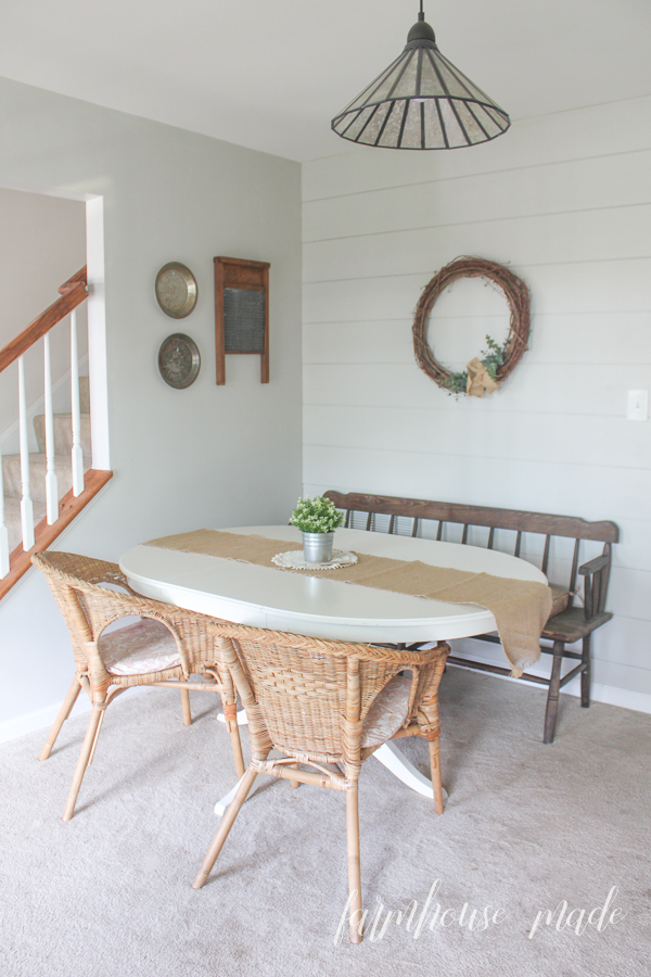 Adding a little shiplap to a focus wall, and painting it the wall color (in this case, Agreeable Grey), really makes a subtle and beautiful impact!