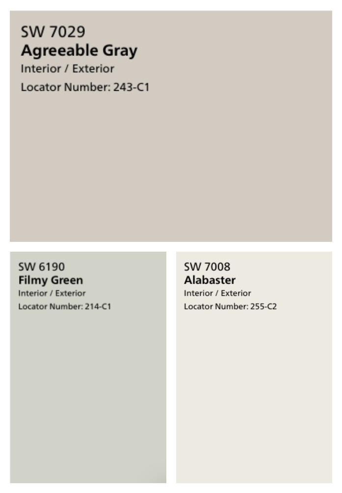 These farmhouse neutral paint colors are my favorite! They're perfectly subtle - Agreeable Grey, Alabaster, and Filmy Green.