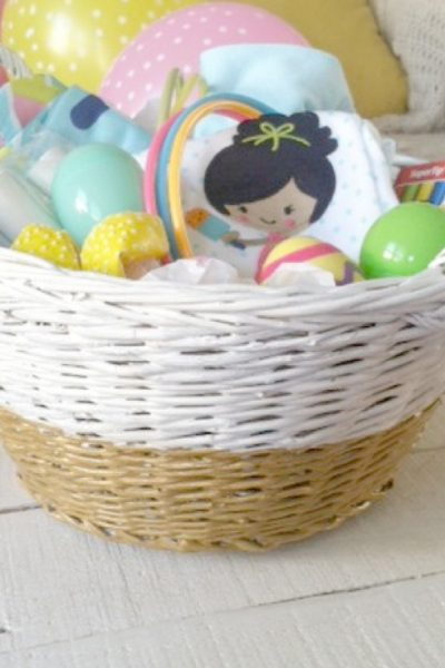 How darling is this gold dipped easter basket!?
