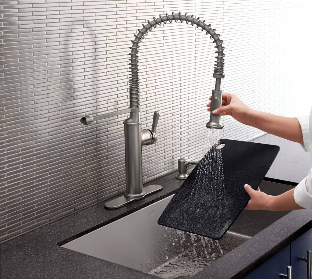 Look at this gorgeous farmhouse kitchen faucet by Kohler!