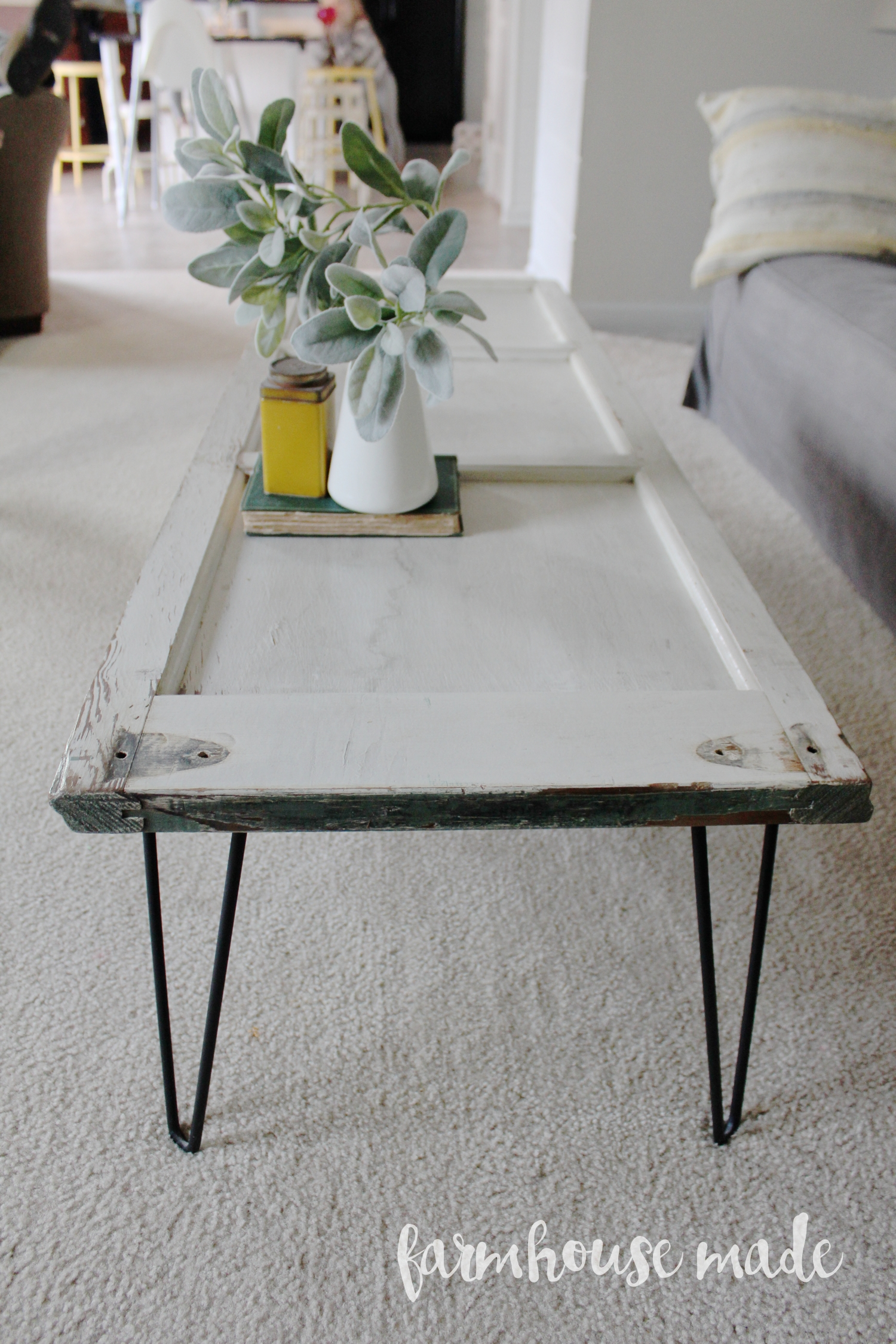 DIY Coffee Table with Hairpin legs from a salvaged shutter! How adorable, you've gotta make this!