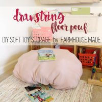 Store all your soft toys in this darling floor pouf! It closes with a drawstring, and is dyed - can you believe this floor pouf is made form a drop cloth!?