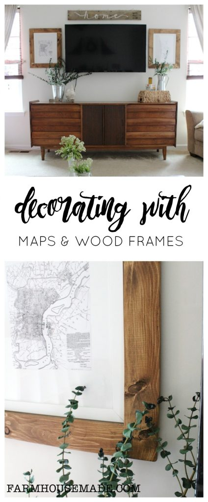 Maps and rustic frames, with a cute pallet wood sign help keep a TV wall symmetrical!