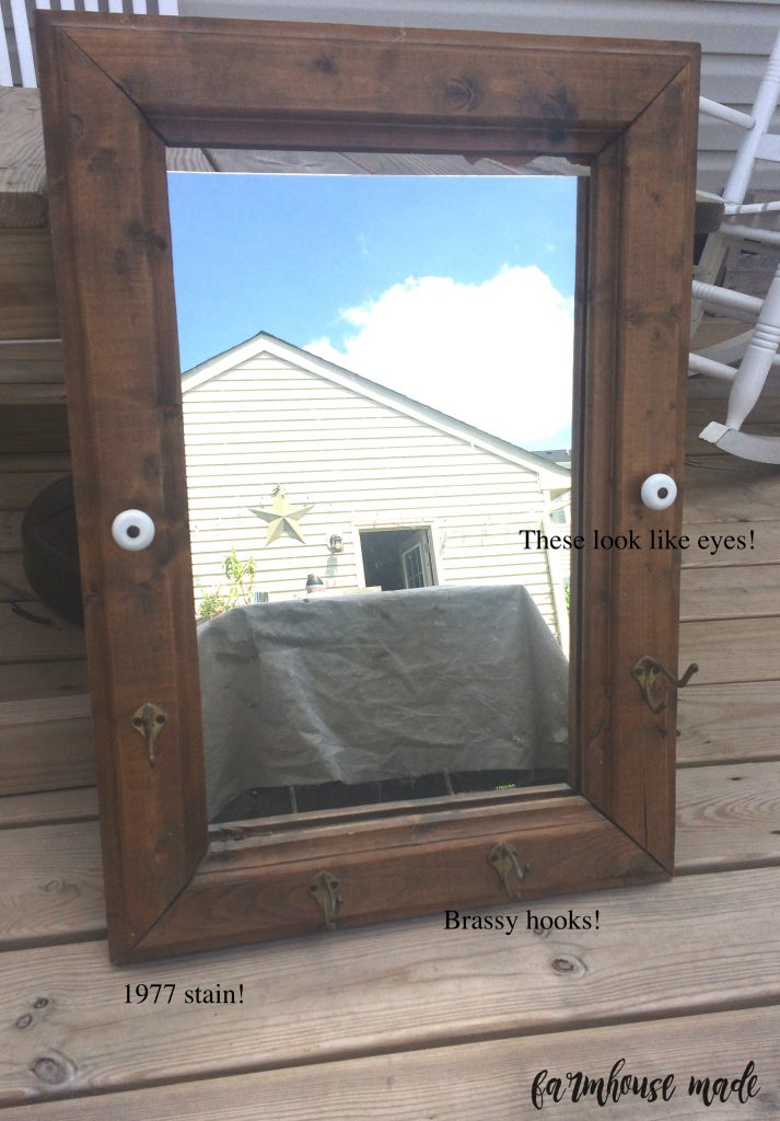 This 1977 mirror is now a beautiful chippy farmhouse mirror! This is the before, check out the After!