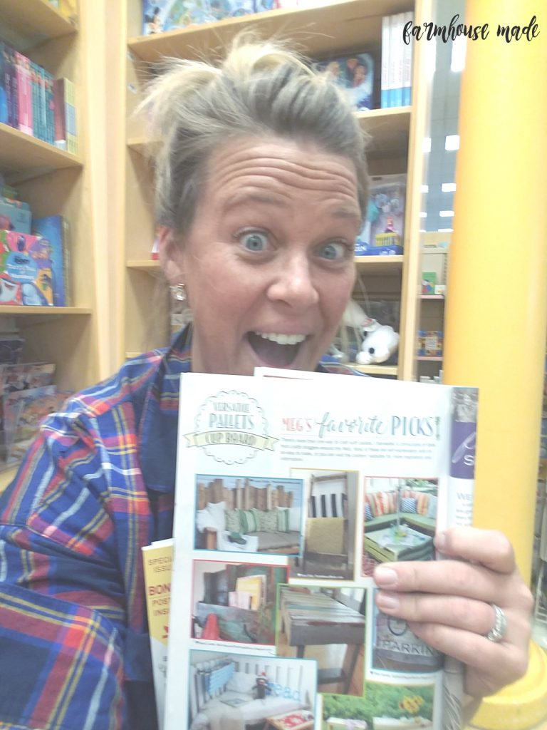 Freaking out in the BN kids treehouse over my ladder in the Farmgirl DIY magazine!