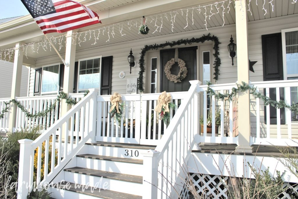 This is such a beautiful and simple farmhouse christmas decor tour! I love all the rustic touches, especially this amazing farmhouse porch!