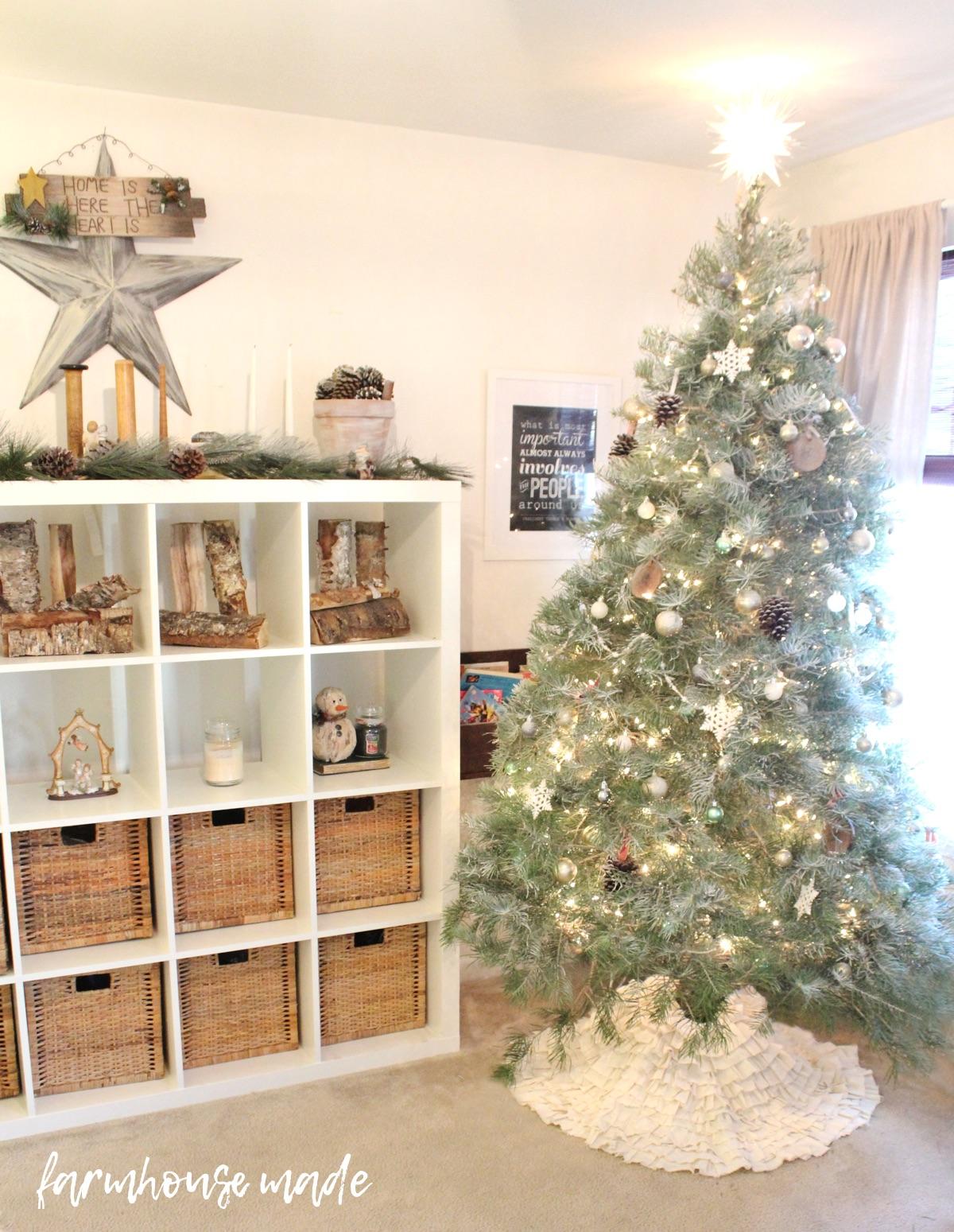 Farmhouse Christmas Decor Tour Rustic Flocked Christmas Tree F A R M H O U S E M A D E