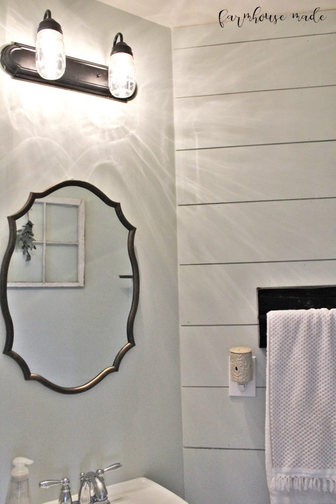 Farmhouse Style Powder Room 100 Room Makeover F A R M H O U S E M A D E