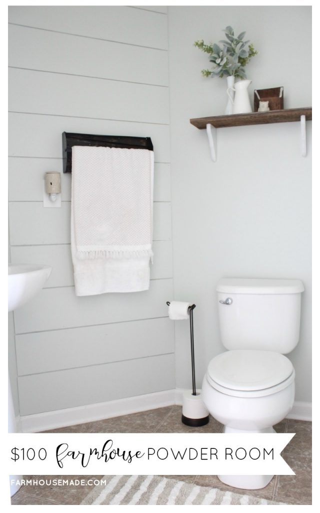 Farmhouse Style Powder Room 100 Room Makeover