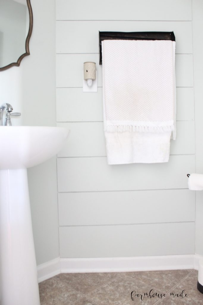 This farmhouse style powder room has so many rustic and repurposed touches! And all for $100!