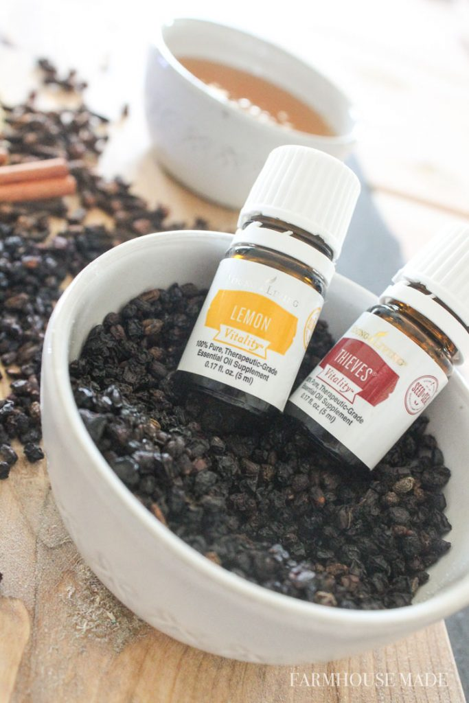Learn how to make your own elderberry syrup using whole organic dried elderberries, and YL essential oils to help boost your immune system and minimize those symptoms!