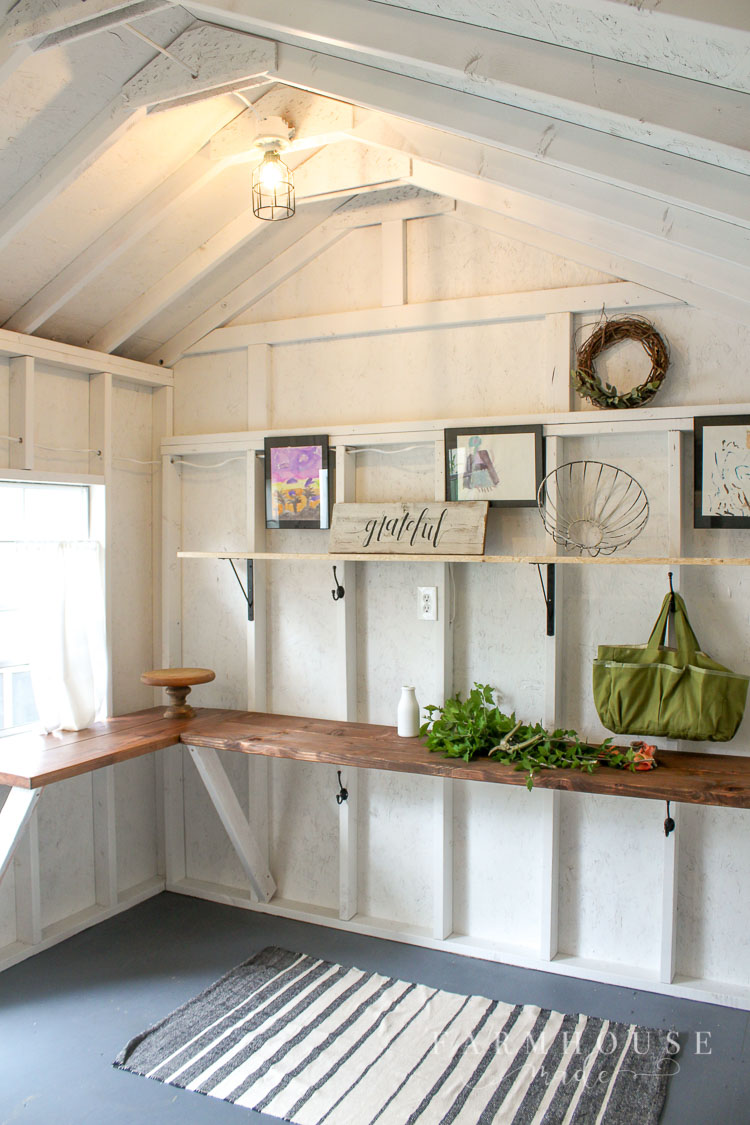 Light & Bright Farmhouse Style She Shed Makeover