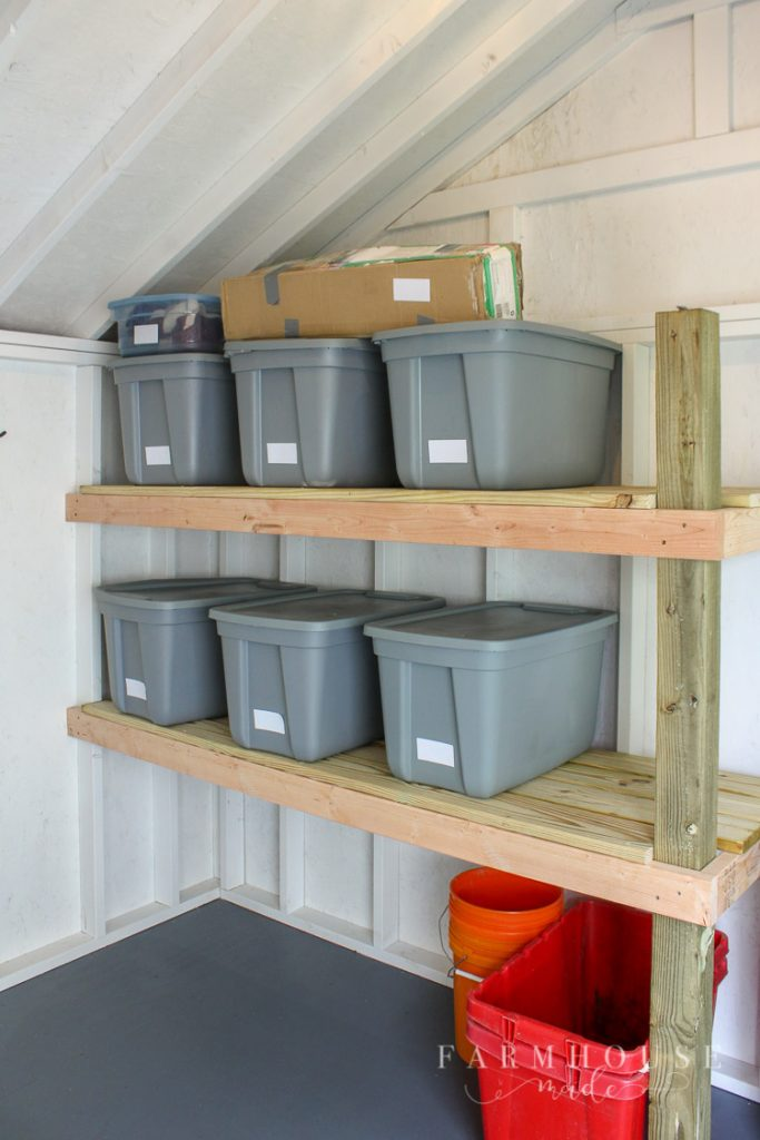 This amazingly simple storage rack in this beautiful, light and airy she shed adds the perfect amount of storage space.