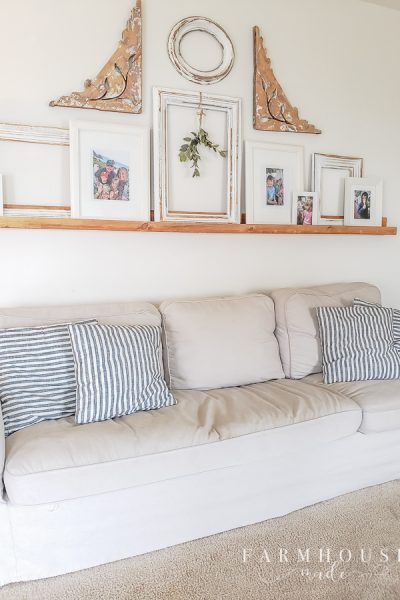 Farmhouse style living room with envelope pillow covers made from napkins