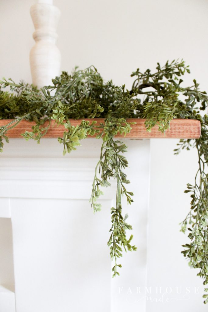 greenery on diy faux fireplace