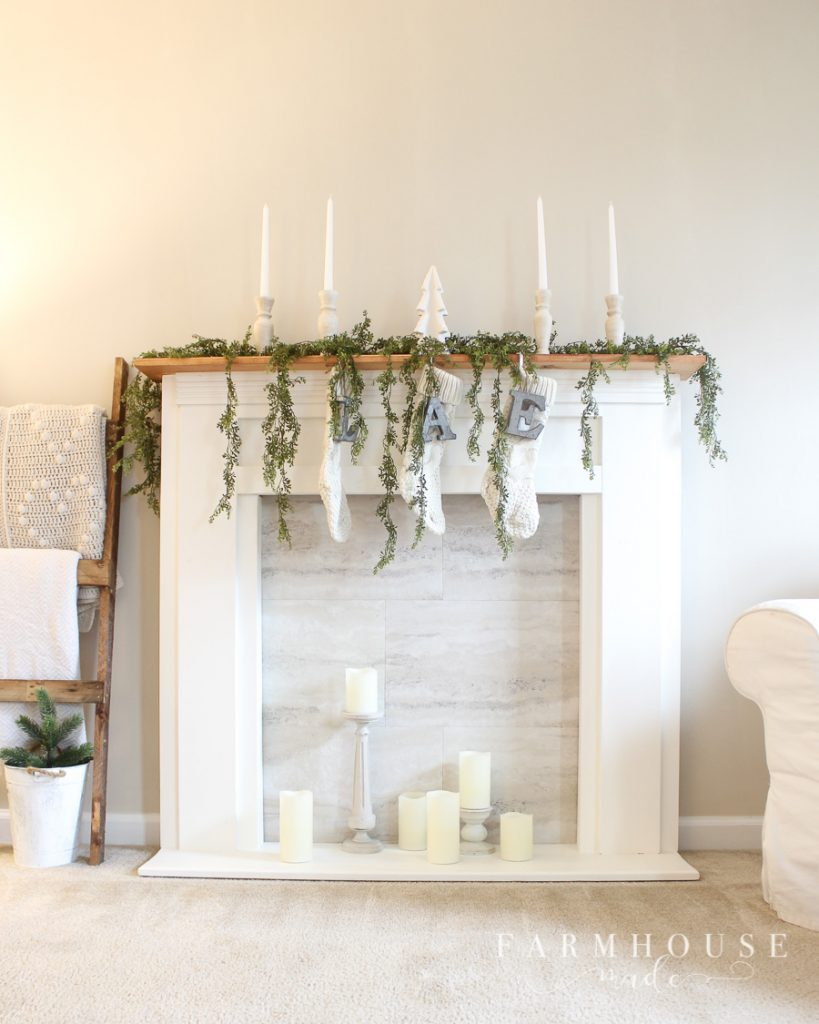 diy candlesticks in farmhouse fireplace