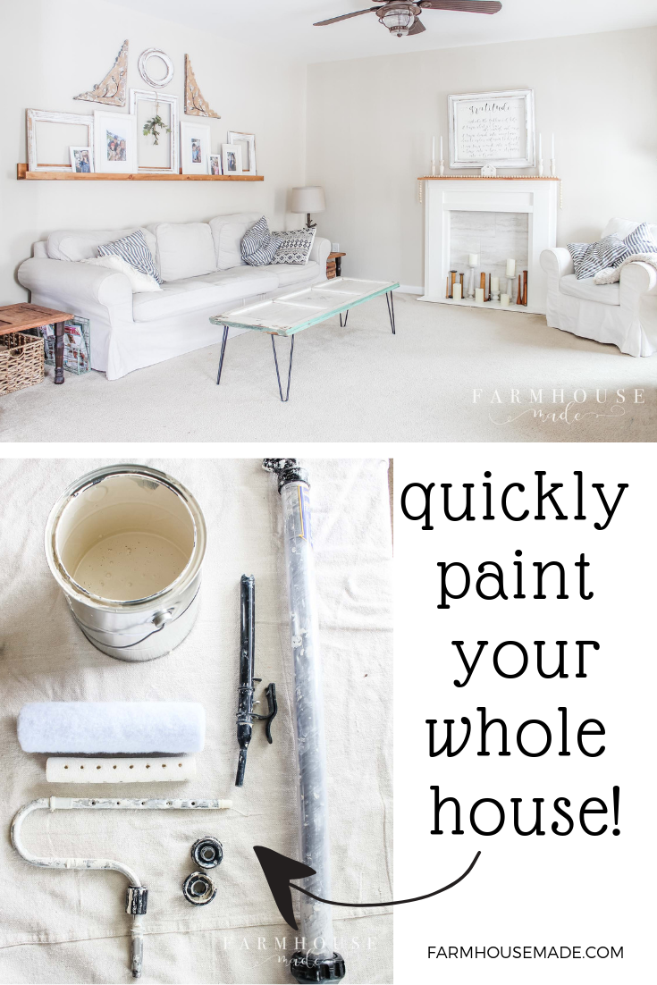 After using up 2 cans of builder-provided sample plaint for touch ups after 5 years, we finally pulled the trigger on painting our entire house! The keys to an amazing paint job, are prepping, a special roller, and sampling all your paint. #FarmhouseStyle #FarmhouseKitchen #CalicoCream #SherwinWilliams #HomeRight #FarmhousePaintColors