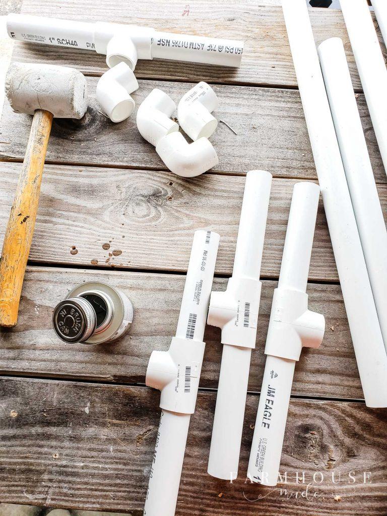PVC pipes cut for diy grow light