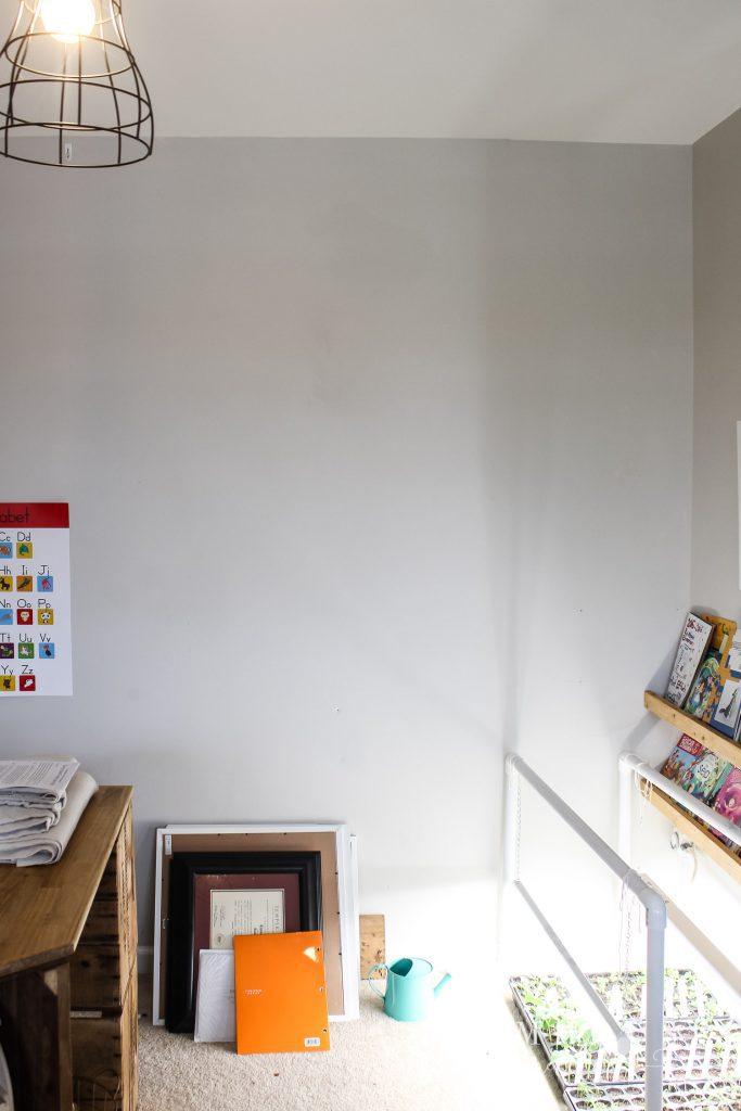 blank wall in playroom diy alphabet art