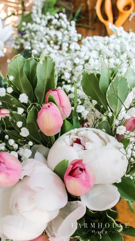 tulips, peonies, and greens